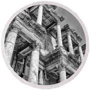 Celcus Library At Ephesus Round Beach Towel