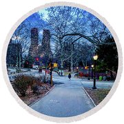 Central Park At Night, New York, New York Round Beach Towel
