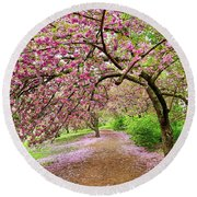 Central Park Cherry Blossoms Round Beach Towel