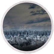 Central Park Winter Round Beach Towel