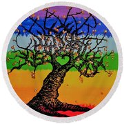 Round Beach Towel featuring the drawing Chakra Love Tree by Aaron Bombalicki