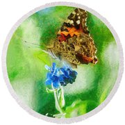 Chalky Painted Lady Butterfly Round Beach Towel