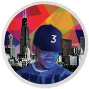 Round Beach Towel featuring the painting Chance Chicago by Carla B