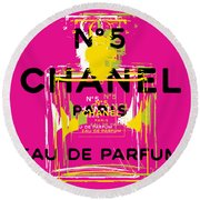 Chanel No 5 Pop Art - #3 Round Beach Towel