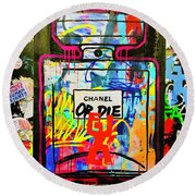 Chanel Or Die Graffiti Wall In London  Round Beach Towel