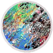 Chaos Abstraction Bright Round Beach Towel