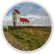Chapel Of Iceland Round Beach Towel