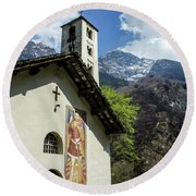 Round Beach Towel featuring the photograph Chapel Of Santa Maria Of Castello, Mesocco, Switzerland by Dawn Richards
