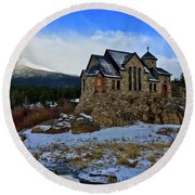 Round Beach Towel featuring the photograph Chapel On The Rock by Dan Miller