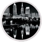 Charcoal Night View Of Cleveland Round Beach Towel