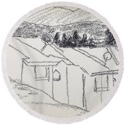 Charcoal Pencil Houses1.jpg Round Beach Towel