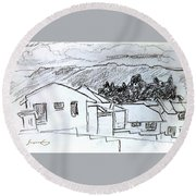 Charcoal Pencil Houses.jpg Round Beach Towel