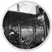 Charles Murphy In Police Monoplane - 1914 Round Beach Towel
