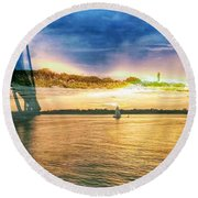 Charleston Harbor Sc Round Beach Towel