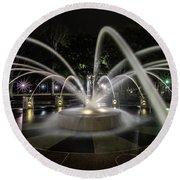Charleston's Splash Fountain At Night Round Beach Towel