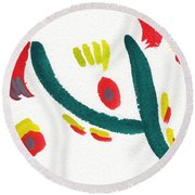 Round Beach Towel featuring the painting Chasing by Bee-Bee Deigner
