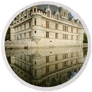 Round Beach Towel featuring the photograph Chateau Azay-le-rideau, by Stephen Taylor