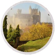 Chateau Beynac In The Mist Round Beach Towel