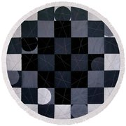 Checkers And Pick-up-sticks Round Beach Towel