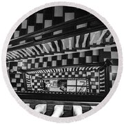 Checkerboard Stairs Staunton Virignia Round Beach Towel