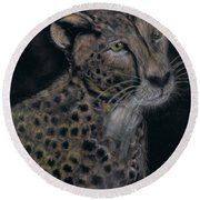 Cheetah Portrait In Pastels Round Beach Towel