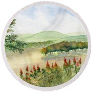 Chemung River Autumn Round Beach Towel