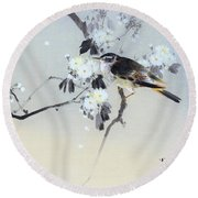 Cherry Blossoms And Bird - Digital Remastered Edition Round Beach Towel