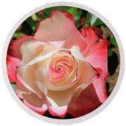 Round Beach Towel featuring the photograph Cherry Parfait Rose by Dawn Richards