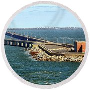 Round Beach Towel featuring the photograph Chesapeake Bay Bridge Tunnel E S V A by Bill Swartwout Fine Art Photography
