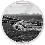 Round Beach Towel featuring the photograph Chesapeake Bay Bridge Tunnel E S V A Black And White by Bill Swartwout Fine Art Photography