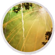 Yellow Fireworks Round Beach Towel