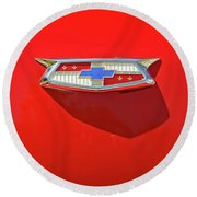 Chevrolet Emblem On A 55 Chevy Trunk Round Beach Towel