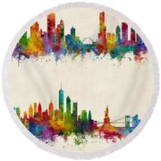 Chicago And New York City Skylines Round Beach Towel