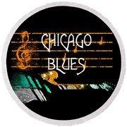 Chicago Blues Music Round Beach Towel