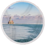 Chicago Harbor Light Landscape Round Beach Towel
