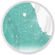 Chicago Map Teal Round Beach Towel