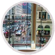 Round Beach Towel featuring the photograph Chicago Streets by Rosanne Licciardi