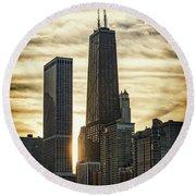 Chicago Sunset Round Beach Towel