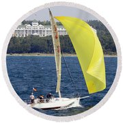 Round Beach Towel featuring the photograph Chicago To Mackinac Yacht Race Sailboat With Grand Hotel by Rick Veldman