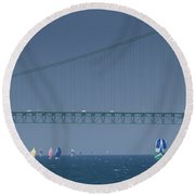 Chicago To Mackinac Yacht Race Sailboats With Mackinac Bridge Round Beach Towel