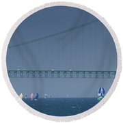 Round Beach Towel featuring the photograph Chicago To Mackinac Yacht Race Sailboats With Mackinac Bridge by Rick Veldman