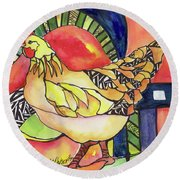 Chicken Red Round Beach Towel