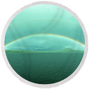 Chilean Fjord Rainbow Round Beach Towel