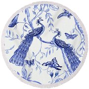 Chinoiserie Blue And White Peacocks And Butterflies Round Beach Towel