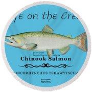 Chinook Salmon Disrupted Round Beach Towel