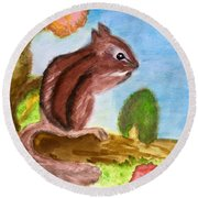 Chipmunk By Dee Round Beach Towel