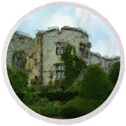 Chirk Castle Painting Round Beach Towel