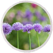Chive Flowers Round Beach Towel