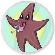 Chocolate Starfish Round Beach Towel