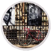 Round Beach Towel featuring the photograph Choir Boy's Red Bicycle by Craig J Satterlee